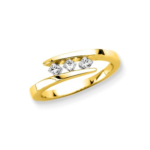 3 Diamond Princess Cut Anniversary Ring 1/4 ct. in 14K Yellow Gold