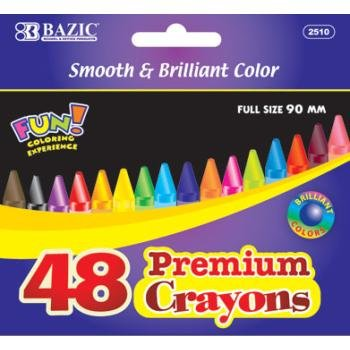 BAZIC 48 Count Premium Quality Color Crayon - 1