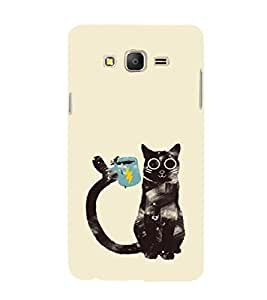 EPICCASE cat with cup Mobile Back Case Cover For Samsung Galaxy E5 (Designer Case)