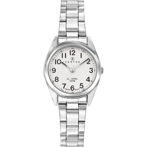 Certus 641388 - Ladies Watch - Analogue Quartz - White Dial - Steel Bracelet Silver