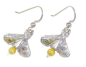 Lightning Bug / Firefly Earrings, Sterling Silver and Cats-Eye Quartz