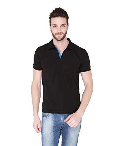 Joke Tees Solid Men's Polo T-Shirt (Black) (XX-Large)