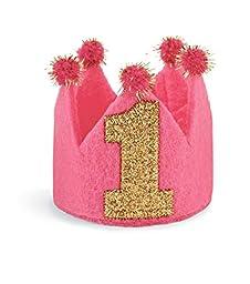 Mud Pie Baby-Girls Infant 1st Birthday Crown Headband, Multi, One Size