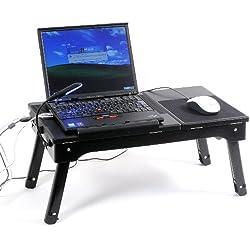 USB4ポート搭載 多機能ラップトップテーブル with LEDライト ブラック EJ-GA022-BK
