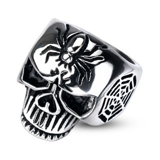 316L Stainless Steel Spider Web Skull Cast Men's Ring; Comes With Free Gift Box