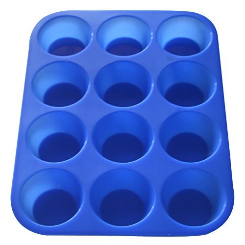 Muffin Pan Silicone and Cupcake Maker 12 Cup Quality Muffin Bake Pan (Blue) (Silicone Muffin Pan Heart compare prices)