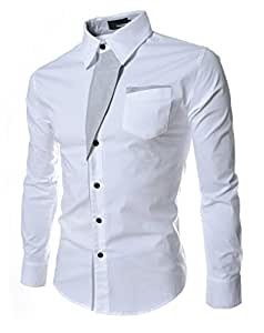 Roupas Blusas Slim Fit Casual-shirts for Male Clothing (XL, White