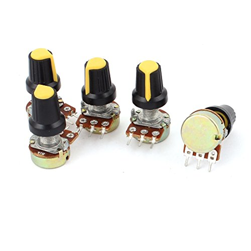 5pcs 1K OHM 3 Terminals Linear Taper Rotary Audio B Type Potentiometer
