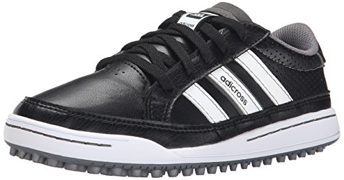 adidas JR Adicross IV Golf Shoe (Little Kid/Big Kid), Black/Black, 4 M US Big Kid