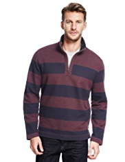 Cotton Rich Block Striped Sweat Top