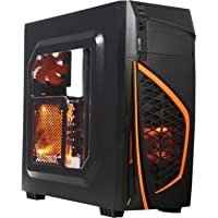 DIYPC Zondda-O ATX Mid Tower Gaming Computer Case Chassis (Orange)