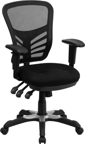 Mid-Back Black Mesh Chair Triple Paddle Control Dense Padded