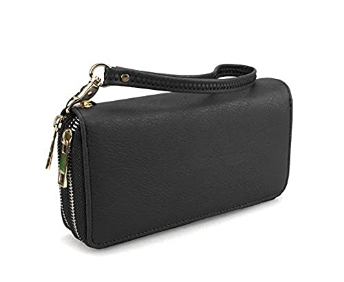08. Hoxis Multi-purpose Generous Faux Leather Purse Organizer Double Zip Around Large Wallet with Wristlet
