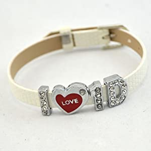 I Love One Direction I Love Id White Bracelet Wristband Zircon Crystal Letter Fans Pu Leather Bracelet by RBEN