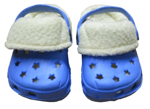 Infant Toddler Boy's Fleece Lined Blue Clogs Size 6-9 Months