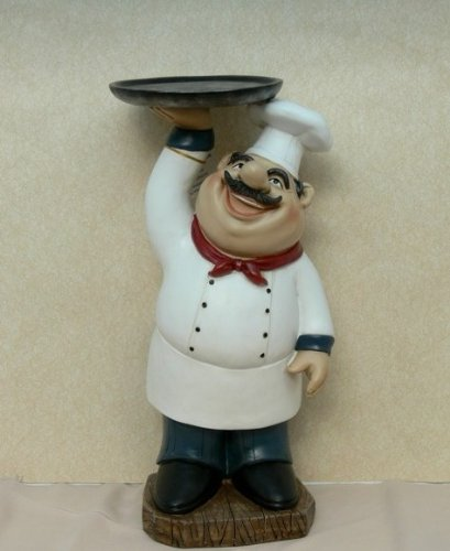 Fat Chef Kitchen: Fat Chef Kitchen Figure Table Art Statue Holding Serving