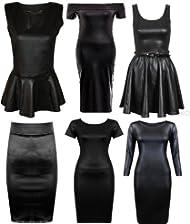 Women Ladies Kim Kardashian WetLook Elasticated Pencil Bodycon Office Skirt 8-22