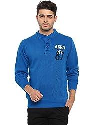 Showoff Men's Full Sleeves Solid Blue Casual Sweatshirt