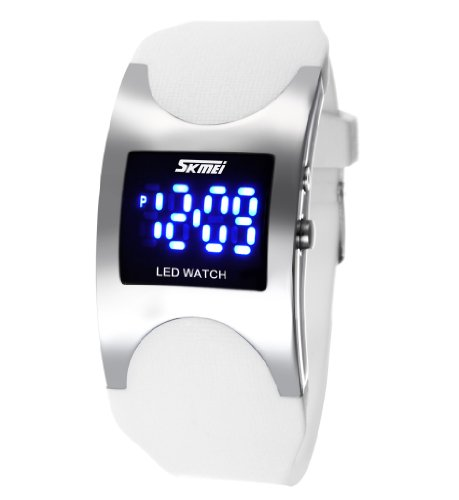 Men'S Women'S Water Resistant Led Digital Display Alloy Case White Silicone Arced Dial Sport Wrist Watch