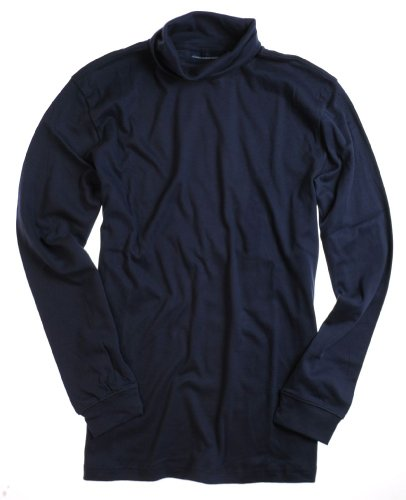 John Ashford Interlock Turtleneck Long Sleeve Shirt (M, Navy Blue) at Amazon.com