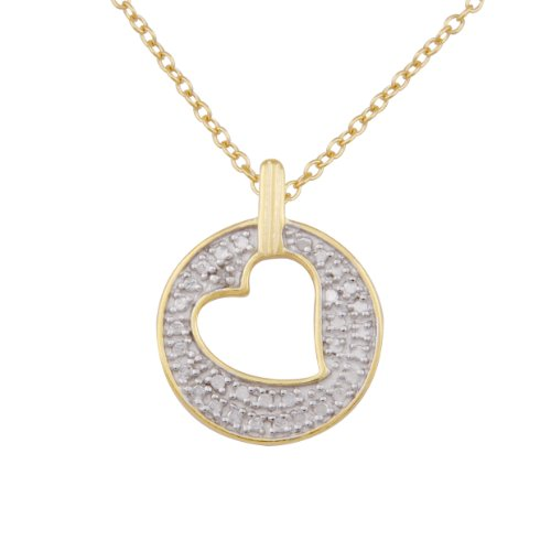 18k Yellow Gold Plated Sterling Silver Diamond Accent Cut-Out Heart Pendant Necklace , 18