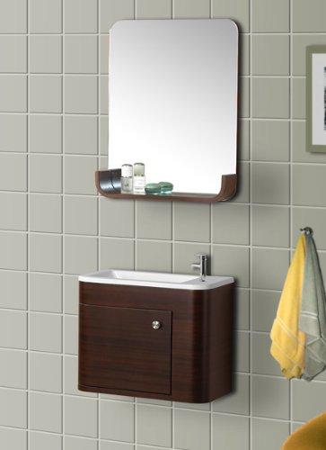 DreamLine DLVRB-318-WN Wall-Mounted Modern Bathroom Vanity with Sink and Mirror, Complete Bath Vanity Set