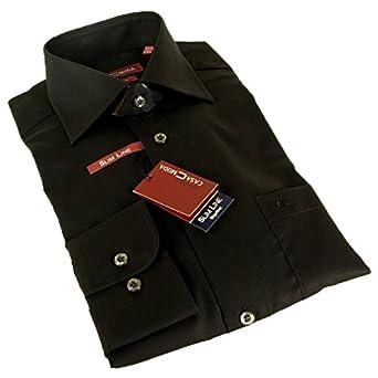 Casa Moda Langarm Slim Line Hemd schwarz 100% Baumwolle TAILLIERT 35