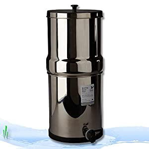 "British Berkefeld® Gravity Water Filter with four 7"" Super SterasylTM Ceramic Water Filter Elements"