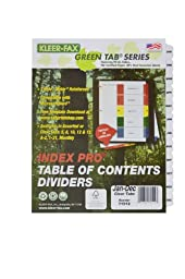 Kleer-Fax 11 x 9 x 3/20 Inches, 12 Tab - January Through December, Index Pro - Table of Contents Dividers , One Set, Black and White (71512)