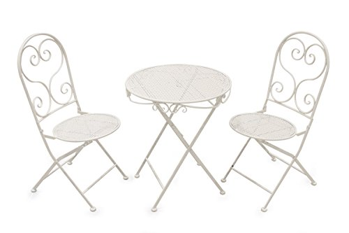Galileo Casa 2409105 Set Tavolo e Due Sedie Shabby, Bianco