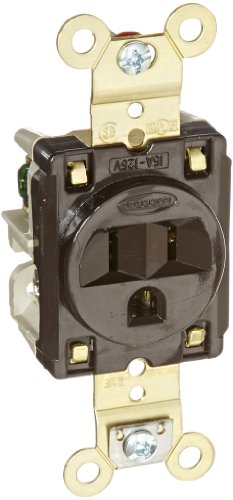 Hubbell Wiring Systems Hbl5261 Flush Nylon Face Single Receptacle, 15 Ampere, 125V, 2 Pole, 3 Wire Grounding, Brown