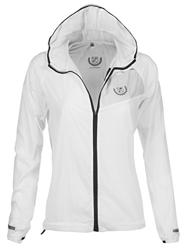 Waterproof Transparent Color Zipper Rain Jackets White_Black M
