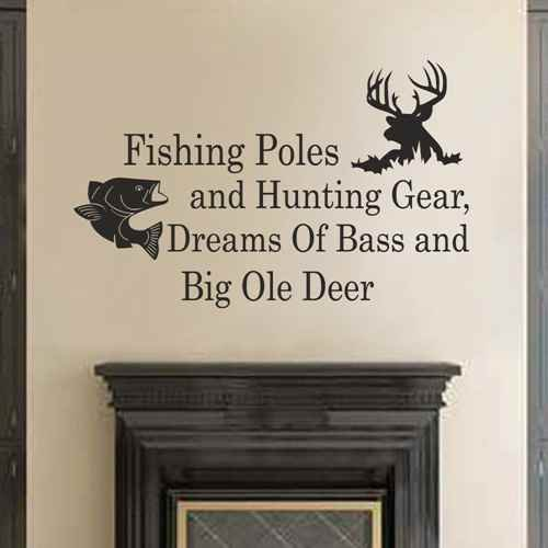 Fishing Poles And Hunting Gear Dreams Of Bass And Big Ole Deer - Country Wall Decals Quotes Nursery Living Room Bedroom Decor (Dark brown,s) (Fishing Wall Decals compare prices)
