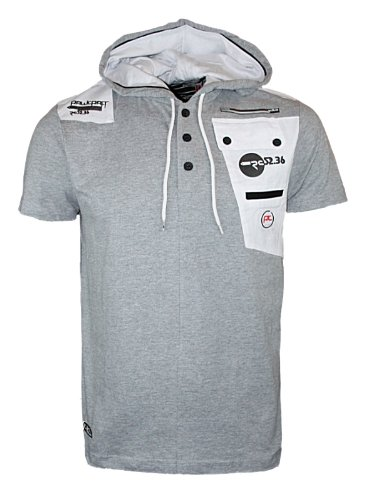 Mens Grey Marl Hoodies Rawcraft C707955C Designer Short Sleeved Hooded T-Shirt XL