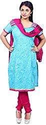 Raahi Unstitched Blue Cotton Embroidered Dress Material - Salwar Suit