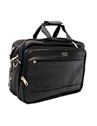"AYS Stylish 16"" Black Colour Expandable Faux Leather Office Bag Convertible Backpack"