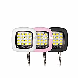 Portable Mini 16 LED, 3.5mm Jack, Selfie Enhancing Dimmable Flash Fill-in Light, Torch, for Cellphone, Mobile, Plug & Play (Pink)