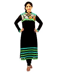 CHARMING Black Women's Party Wear Digital Printed Kurta