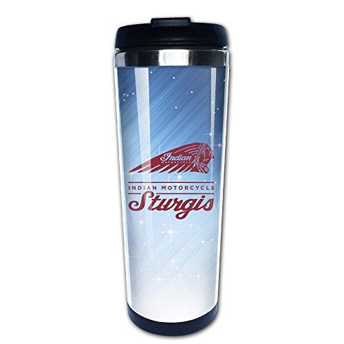 ファッション ビンテージ インディアン モーターサイクル コーヒーカップ 直飲み 保冷 保温 冷温両方対応 真空断熱タンブラー ステンレス フタ付き 手軽 Black Size