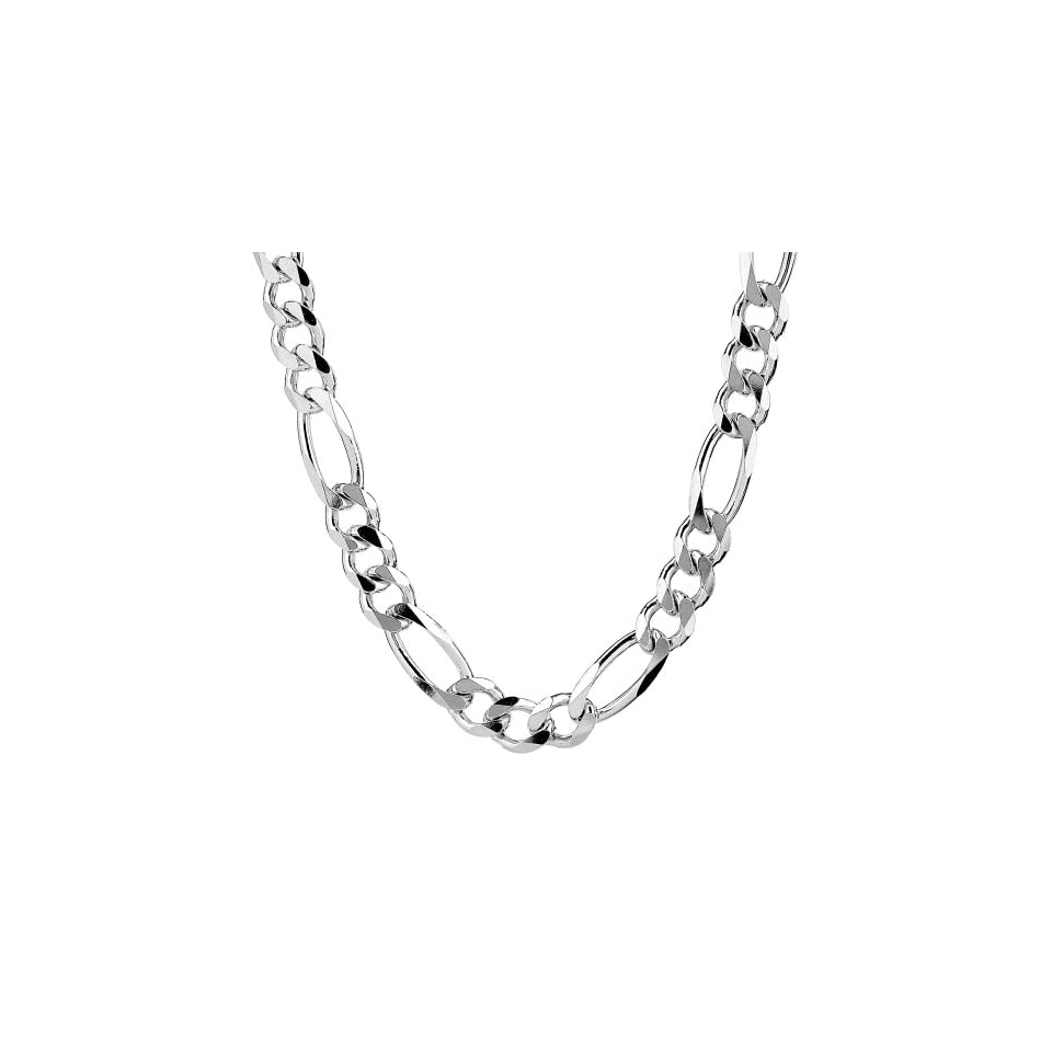 99f508673238 Mens Sterling Silver Italian 9.70 mm Solid Figaro Link Chain Necklace