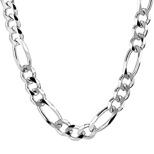 """Silver Italian 9.70mm Solid Figaro Link-Chain Necklace, 18"""": Jewelry"""