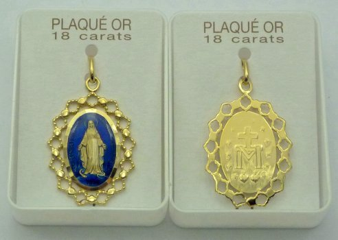 French Miraculous Medal - Gold Plated with Scalloped Edges