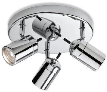 Atlantic Chrome Finish Halogen Bathroom Ceiling Lights / Lighting with 3 Spotlights IP44, 9070CH, Suitable for Bathroom Zones 2 and 3