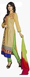 Khushali Presents Chudidar Dress Material(Beige,Green)