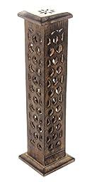 Govinda Carved Wood Square Tower Incense Burner w/Slide-Out Ash Catcher - Flat Roof Top - Hive Design