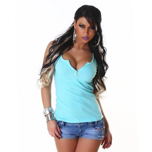 Sexy Top Shirt Trägertop Feinripp-Optik Reißverschluß 34,36,38, 40 verschiedene Farben