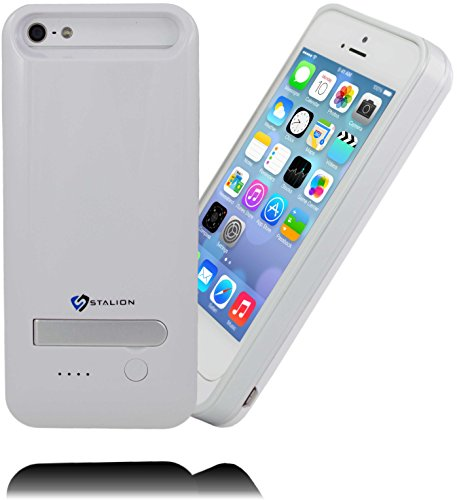Stalion® Stamina 2400mAh Rechargeable Extended Battery Case for iPhone 5/5S  with Kickstand + LED Charge Indicator Light