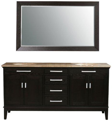 Virtu USA LD-2130-T-DE Battista 73-Inch Double Sink Bathroom Vanity with Mirror and Ivory Ceramic Basins, Dark Espresso Finish