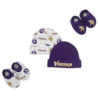 NFL Minnesota Vikings Infant Clothing Set, 4-Piece, 2 Caps & 2 Booties, 0-6 Months