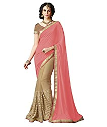 Exclusive Peach And Beige Colored Lycra And Chiffon Material Sequence Work Saree With Fancy Blouse